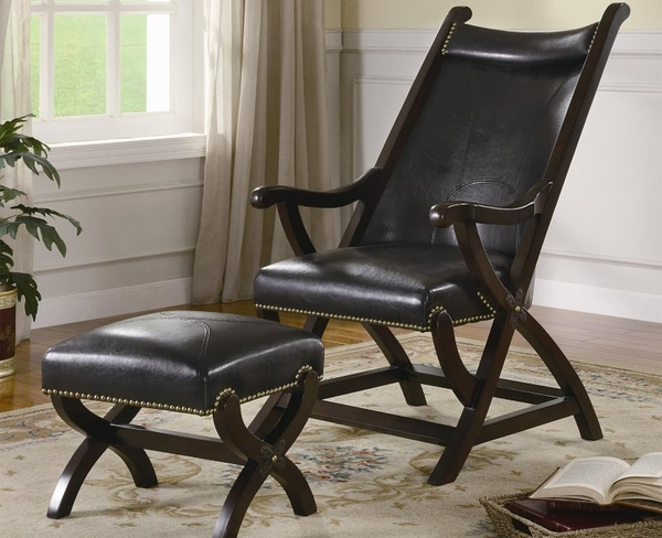 Accent Leather Cigar Chair and Matching Ottoman
