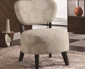 Accent Light Floral Pattern Chair with Padded Seat