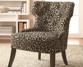 Accent Safari Inspired Leopard Print Chair with Lean Tapered Legs