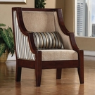 Accent Striped Upholstery Chair with Exposed Wood