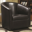 Accent Swivel Chair in Brown Vinyl Upholstery