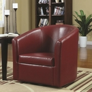 Accent Swivel Chair in Red Vinyl Upholstery