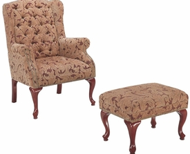Accent Tufted Wing Back Chair and Ottoman