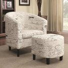Accent Two-Piece Chair and Ottoman Set in French Script Pattern