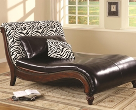 Accent Zebra Animal Print Chaise Lounge