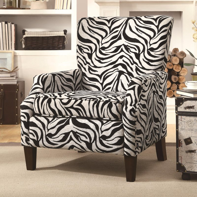 accent zebra pattern chair by coaster furniture 902135. Black Bedroom Furniture Sets. Home Design Ideas