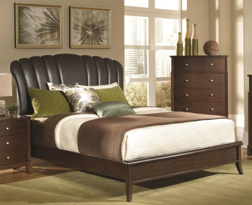 Addley Queen Brown Upholstered Shell Headboard Bed