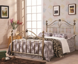 Antique Gold Burnished Finish Iron Queen Bed