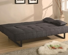 Armless Sofa Bed with Tufted Seat and Sleek Metal Legs