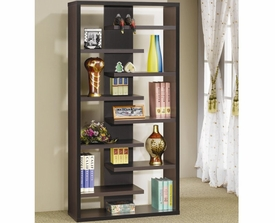 Cappuccino Finish Interjecting Shelf Bookcase with Center Back Panel