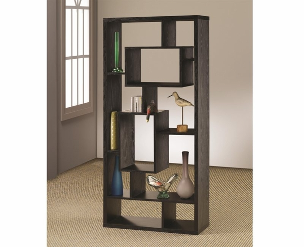 Black Finish Asymmetrical Cube Book Case