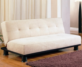 Beige Microfiber Armless Convertible Sofa Bed