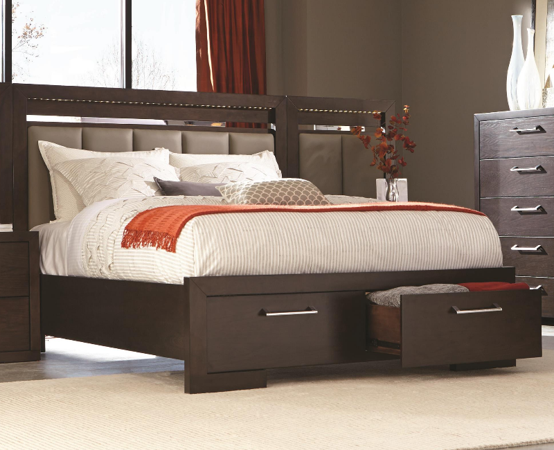 Berkshire bed with storage footboard by coaster furniture for Furniture 4 less dallas tx