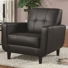 Black Accent Chair with Round Wood Legs
