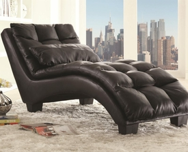 Black Accent Pillow-top Upholstered Chaise