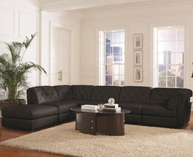 Quinn Modular Black Leather Sectional # 551031