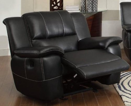 Black Bonded Leather Recliner with Pillow Arms