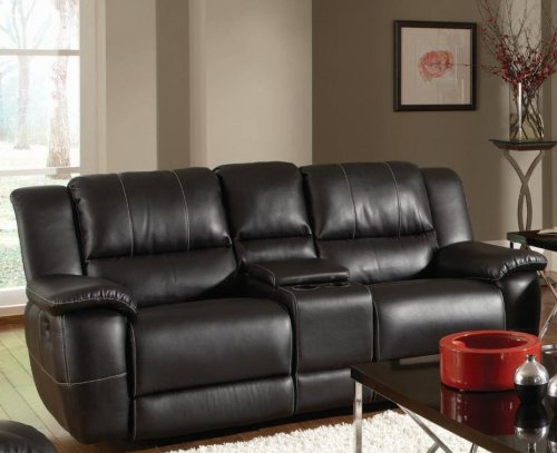 Black Bonded Leather Reclining Gliding Love Seat with Console
