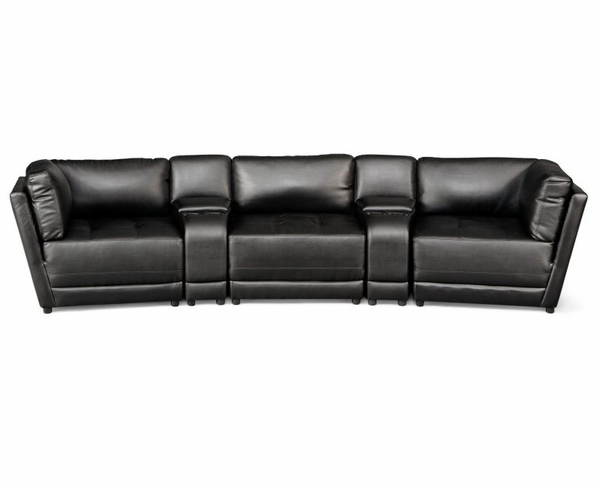 Black Bonded Leather Upholsted Sectional with Storage Console and Cupholders