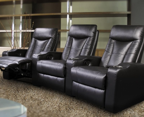 Black Bonded Leather Upholsted Theater Seating