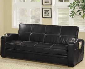 Black Faux Leather Sofa Bed with Storage and Cup Holders