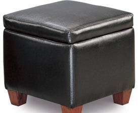Black Faux Leather Storage Cube Ottoman