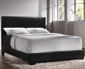 Black Faux Leather Upholstered Queen Bed
