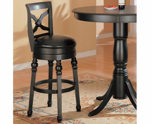 "Black Finish 29"" Swivel Bar Stool with Faux Leather Seat"