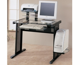 Black Finish Computer Desk with Glass Top and Computer Storage