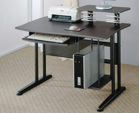 Black Finish Computer Desk with Keyboard Tray and Computer Storage