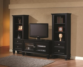 Black Finish Entertainment Wall Unit