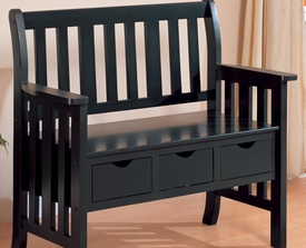 Black Finish Three Drawer Storage Bench
