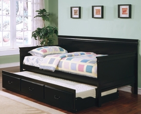 Black Finish Twin Daybed with Trundle