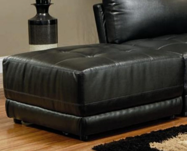 Black Leather Large Square Ottoman By Coaster Furniture