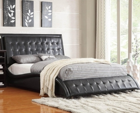 Black Leather-like Vinyl Upholstered Queen Bed