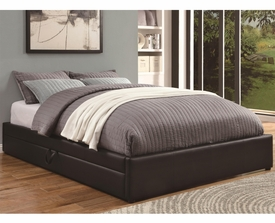 Black Leather-Like Vinyl Upholstered Queen Storage Bed