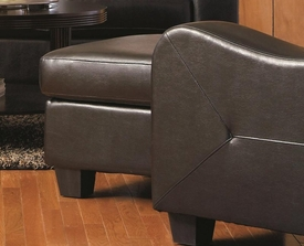 Black Leather Ottoman with Tapered Wood Feet