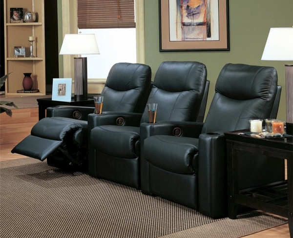 Black Leather Upholstered Reclining Theater Group
