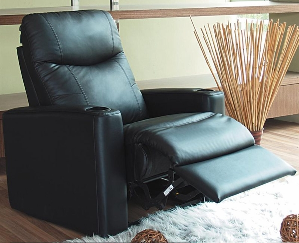 Black Leather Upholstered Theater Recliner