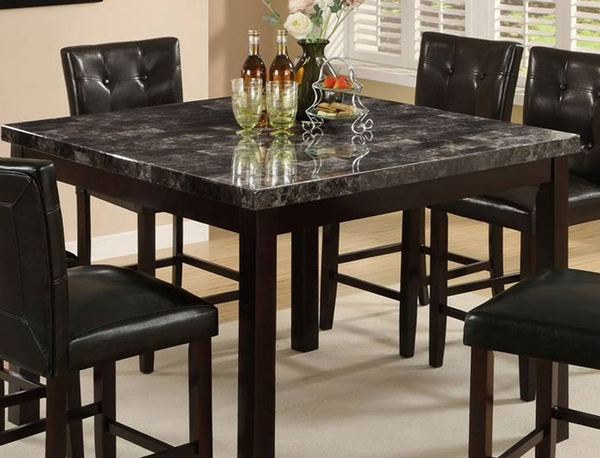 Black Marble Finish Pub Table