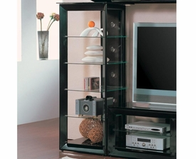 Black Media Tower with 5 Glass Shelves