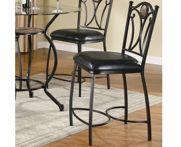 Black Metal Finish Chair with Stone Accent and Faux Leather Seat