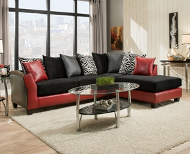 Black on Red Sectional # 4174-09