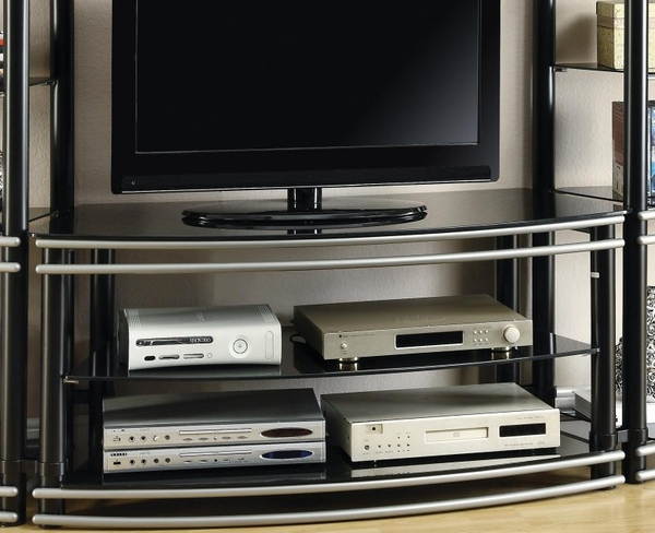 Black & Silver Finish Curved TV Stand