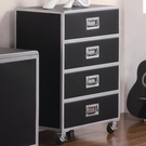 Black & Silver Finish Metal Chest with Casters