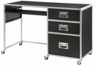 Black & Silver Finish Metal Computer Desk with 3 Drawers