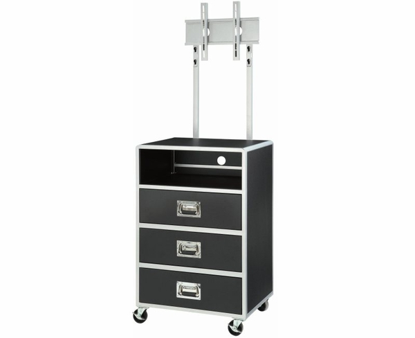 Black & Silver Finish Metal Media Chest