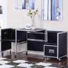Black & Silver Finish Metal Sliding Table and Chairs