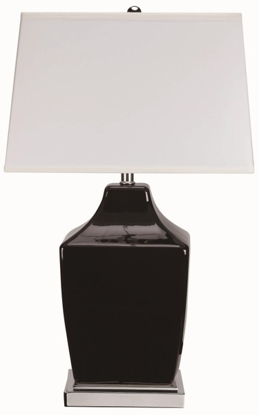 Black Table Lamp with Chrome Base