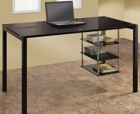 Black Tempered Glass Desk with 3 Storage Shelves